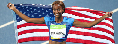 Dalilah Muhammad:  Muhammad is a native of Queens, New York and has gone on to become the greatest female 400m hurdler in history. Dalilah won the 2016 Olympic gold medal in the event and followed that up by winning the 2019 World Championship setting the world record in the process.