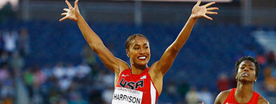 Queen Harrison-Claye:  Harrison-Claye is a native of Richmond, Virginia where she became one of the top high school athletes in the country. She is the only athlete in NCAA history to win both the 100m hurdles and 400m hurdles at the same championship. She was a member of the 2008 US Olympic Team after her sophomore year at Virginia Tech.