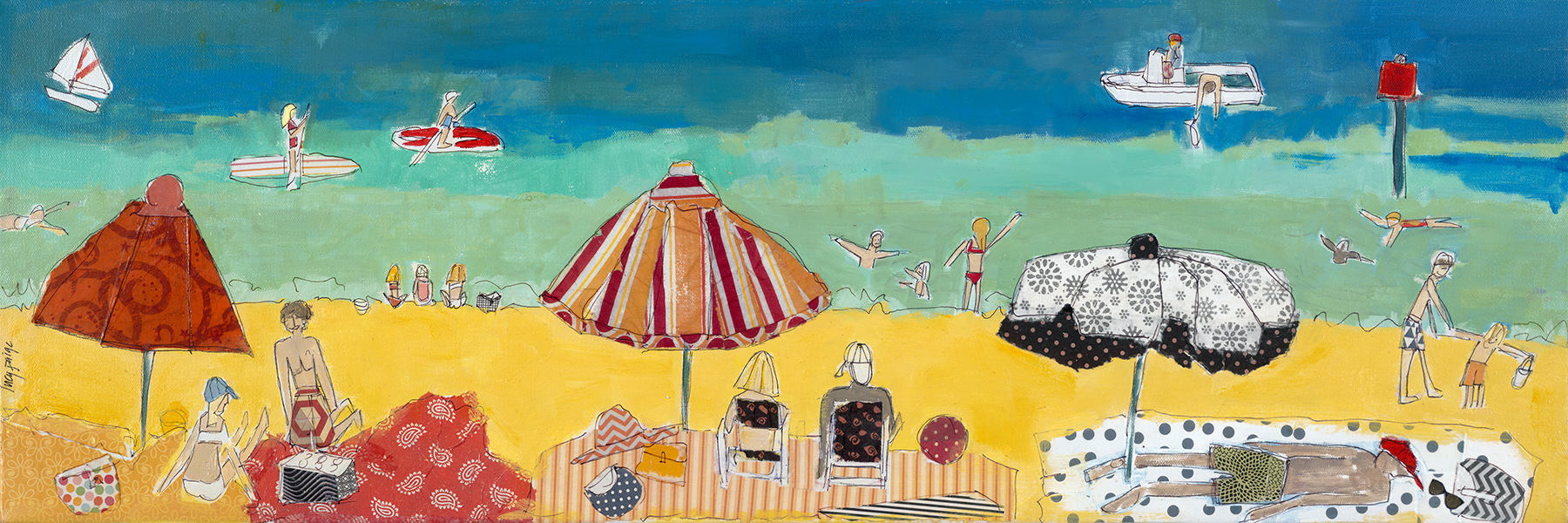 lucy paige artist key west beach day series collage Afternoon at Smathers Beach .jpg
