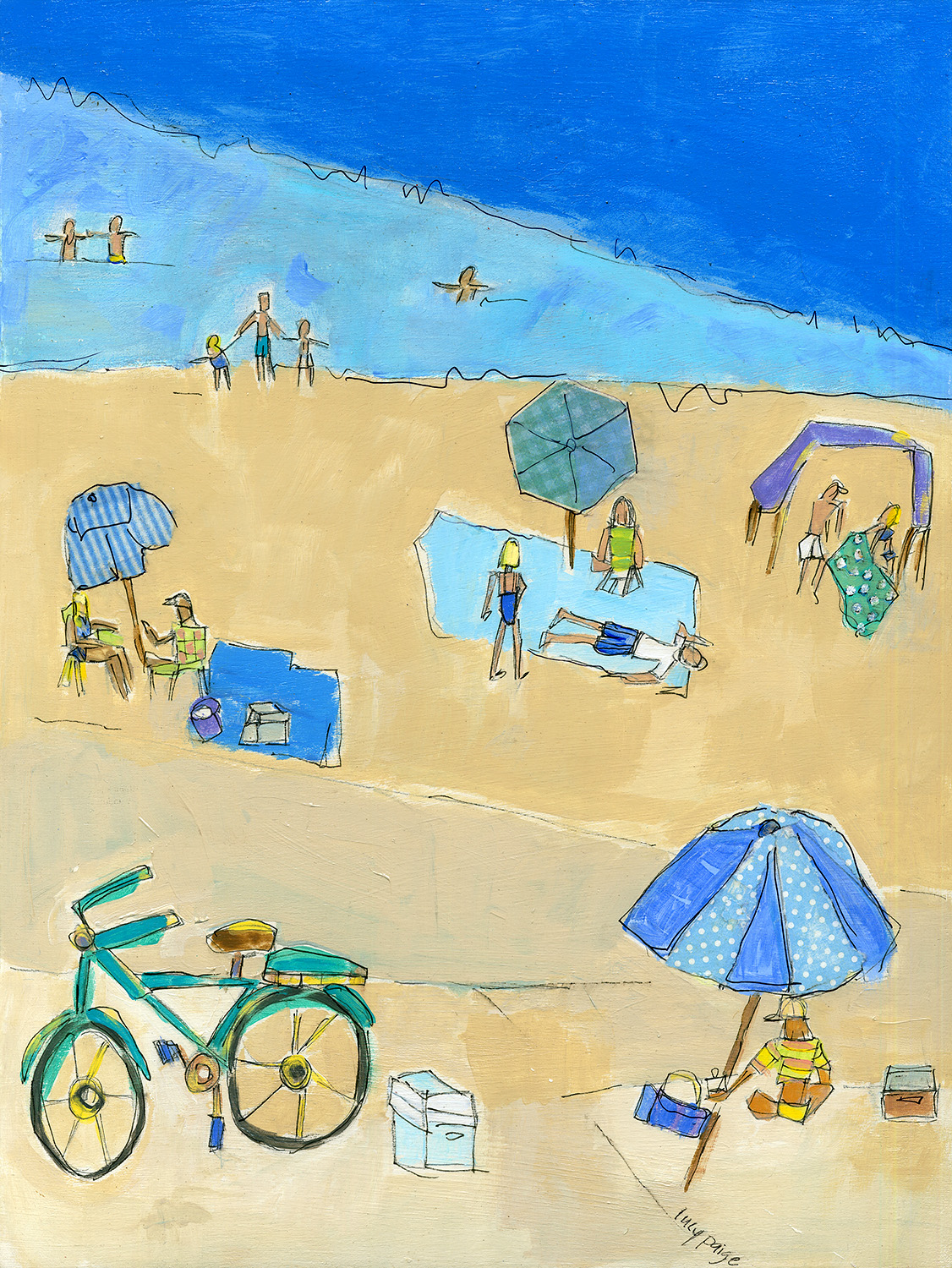 lucy paige artist key west beach day series collage Beach Blues .jpg