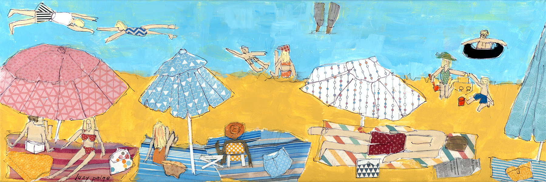 lucy paige artist key west beach day series collage Long Day at the Beach .jpg