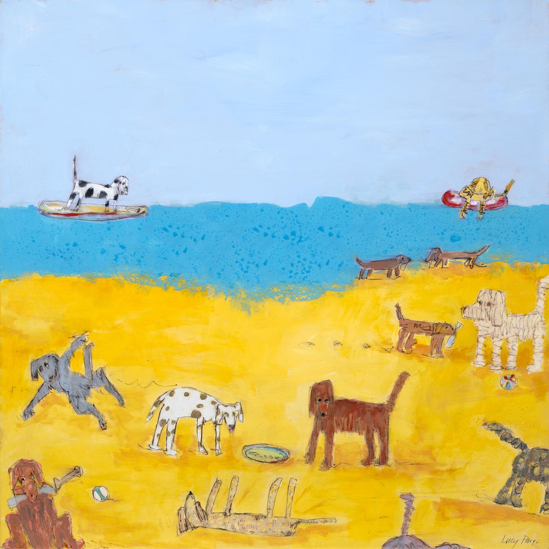 lucy paige artist key west beach day series collage Dog Daze of Summer.jpg