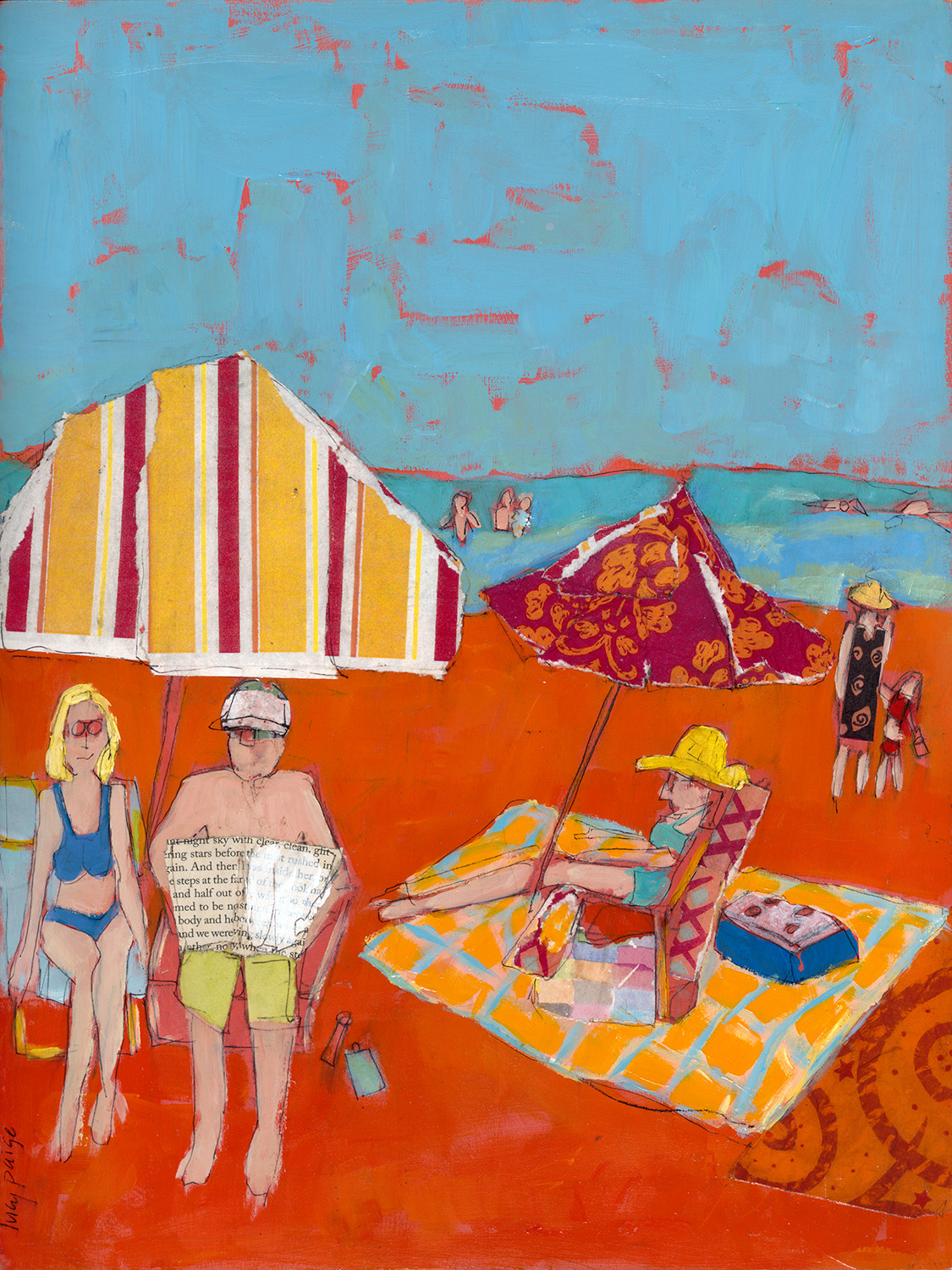 lucy paige artist key west beach day series collage Made in the Shade.jpg