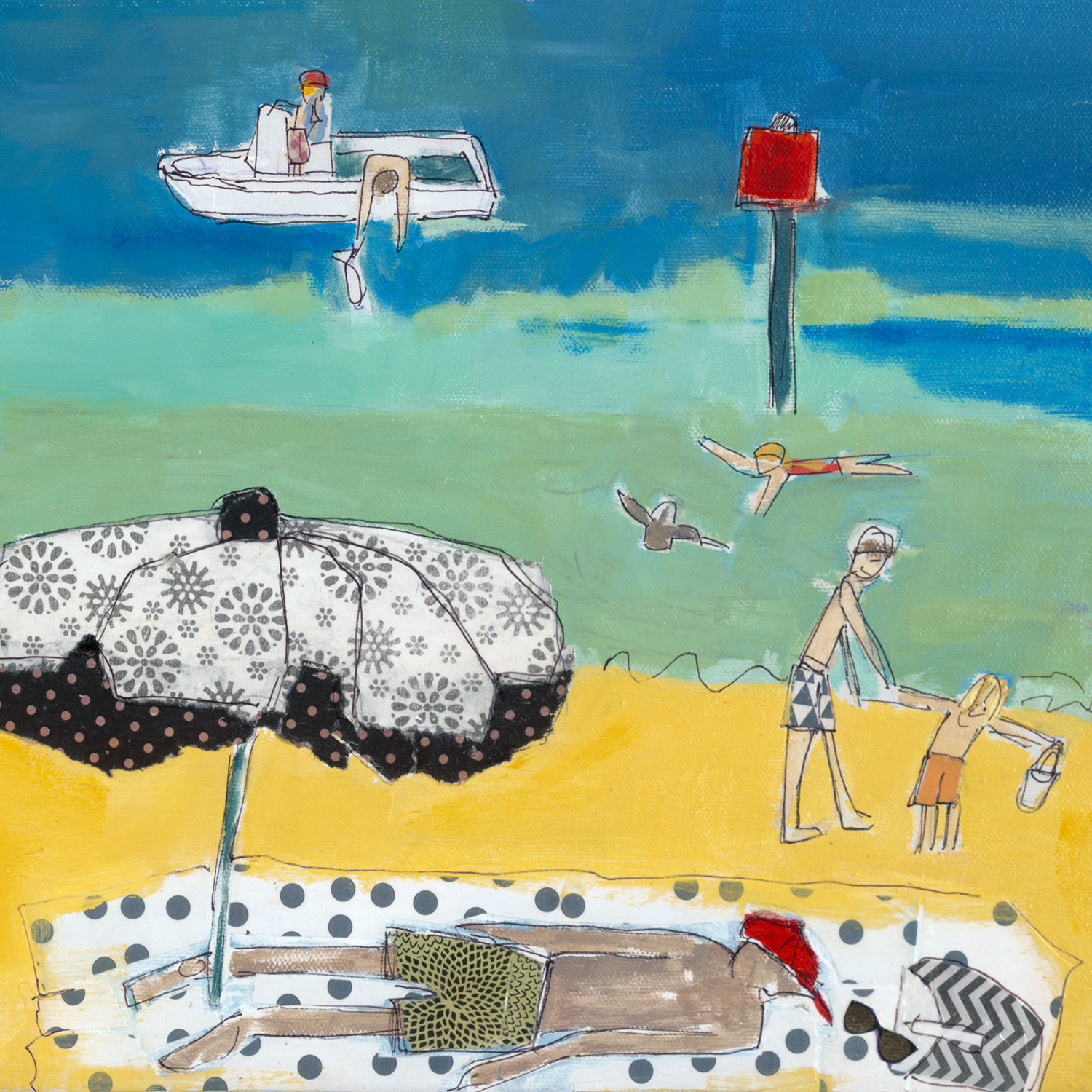 lucy paige artist key west beach day series collage Smathers Beach C .jpg