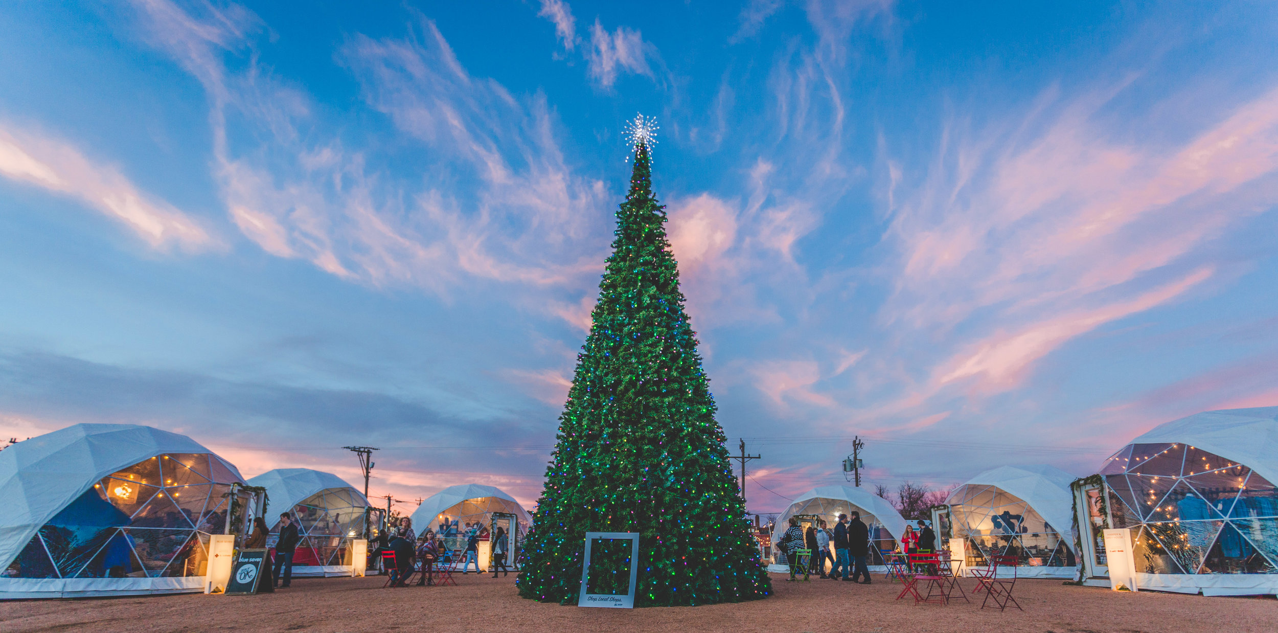 "The Holiday Pop-Up Shops were named Best Holiday Market in Oklahoma by Food and Wine Magazine in 2017.    ""Let's just say you're the kind of person who'd like to shop inside a (plastic) igloo. Then this holiday market is the one for you. Some 35 rotating vendors set up shop in geodesic domes, which look like igloos, to sell their wares. You can also purchase your Christmas tree here."""