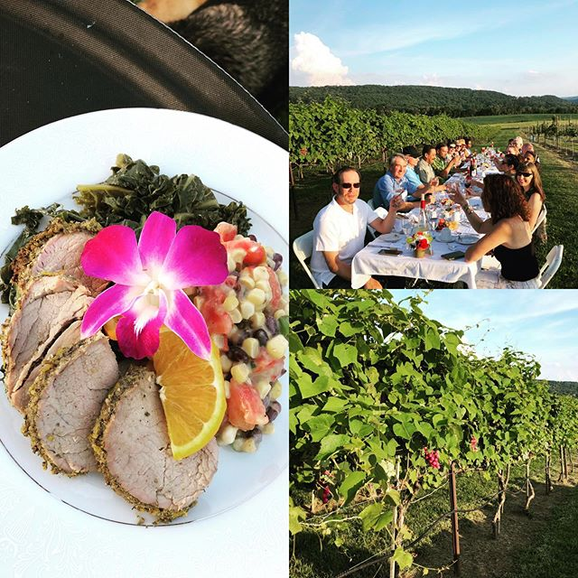 Dine in the Vines citrus herb crusted pork loin, with garlic kale and jersey corn, tomato & black bean relish #villamilagrovineyards #bluemoonculimary #organic #farmtotable