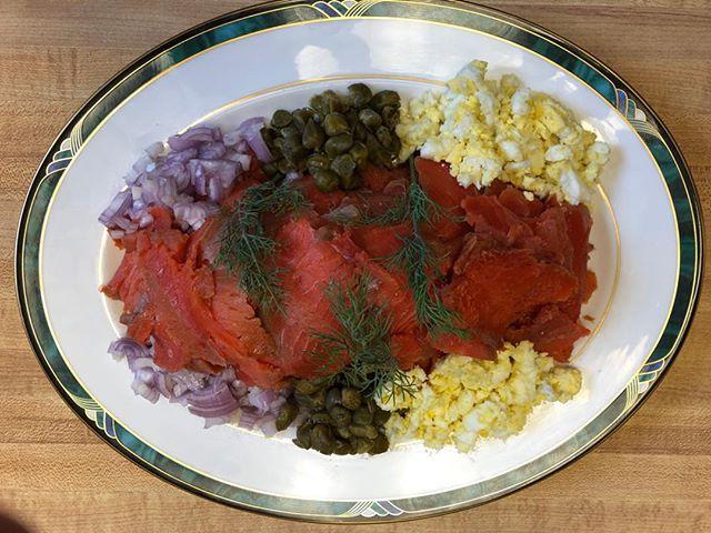 Fresh gravlax brunch platter