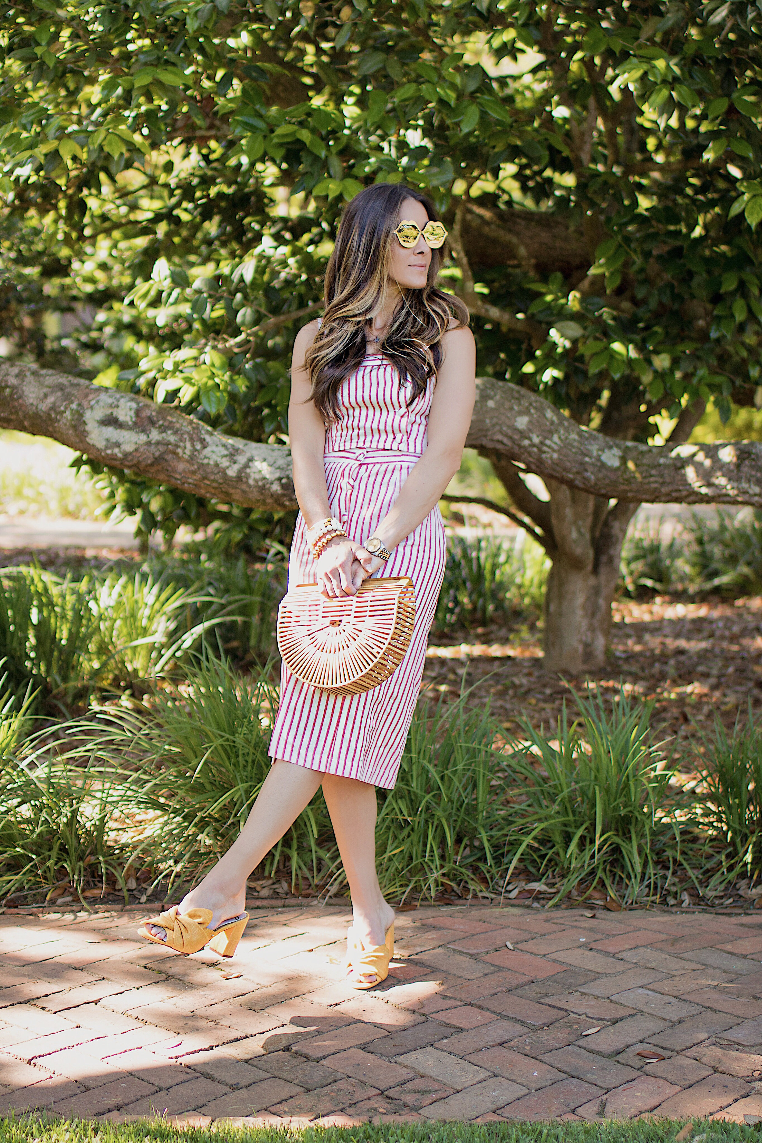 SKIRT -  FOREVER21  | TOP -  FOREVER21  | SHOES - SAM EDELMAN  HERE  AND  HERE  | BAG -  HERE | SUNGLASSES -  TARGET  |WATCH - ROLEX -  HERE  AND SIMILAR  HERE  | BRACELET STACK -  SPROUTS DESIGNS  |LIPSTICK -  NARS