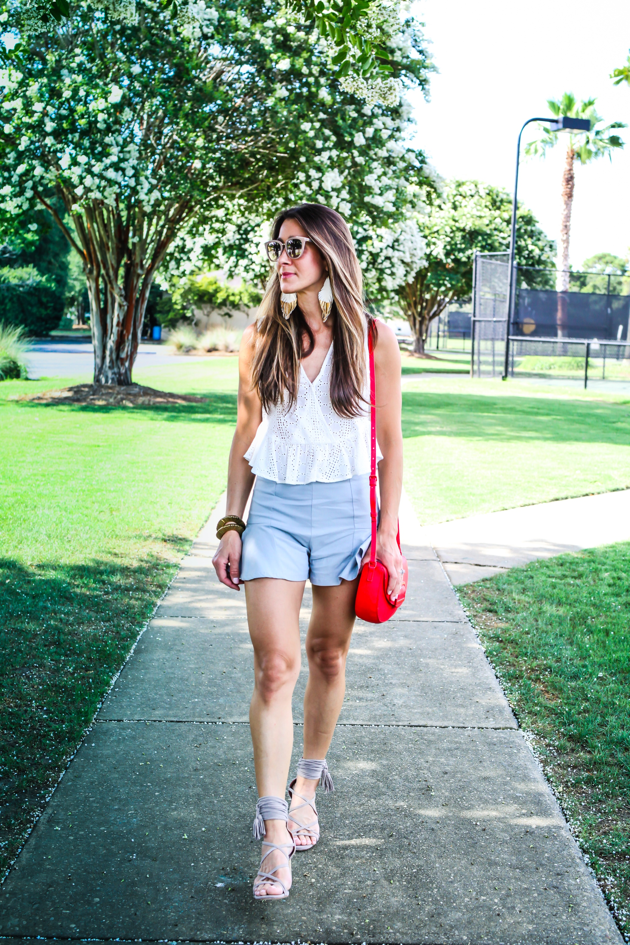 TOP - BCBG -  HERE  AND  HERE  | SHORTS - MINKPINK SIMILAR  HERE  | SHOES - JEFFREY CAMPBELL  HERE  | EARRINGS - MIA K DESIGNS - HERE | BRACELET STACK - SPROUTS DESIGNS -  HERE  | LIPSTICK -  NARS | HANDBAG -  TARGET