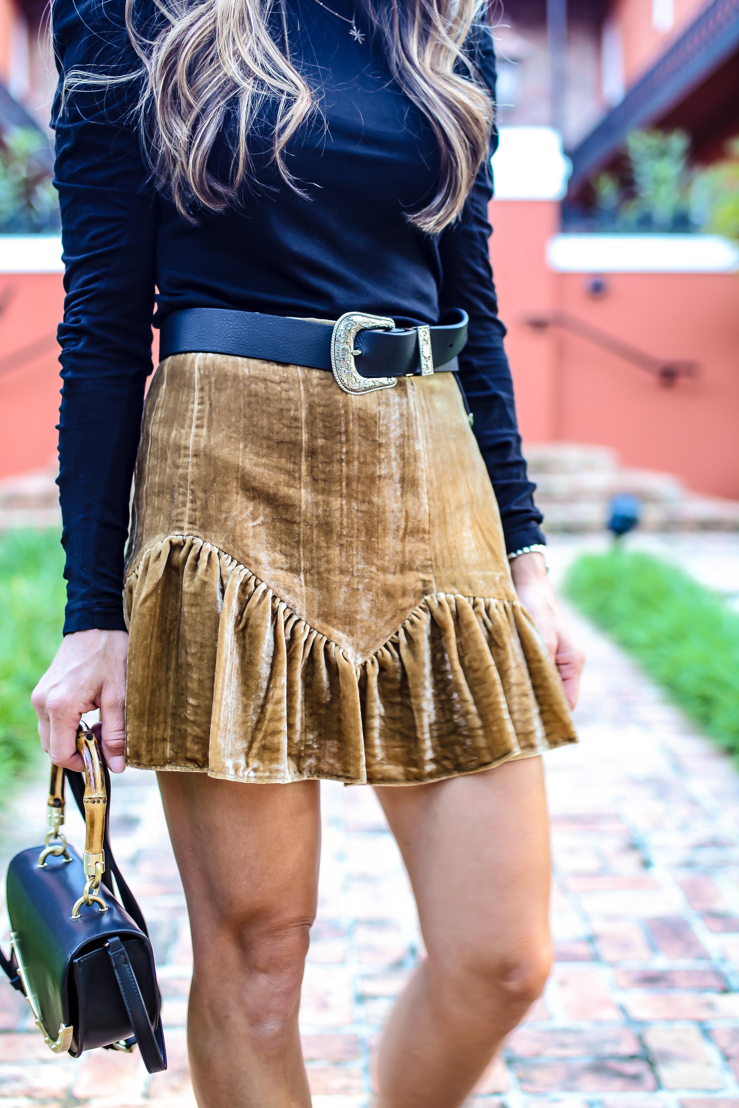 velvet ruffle skirt