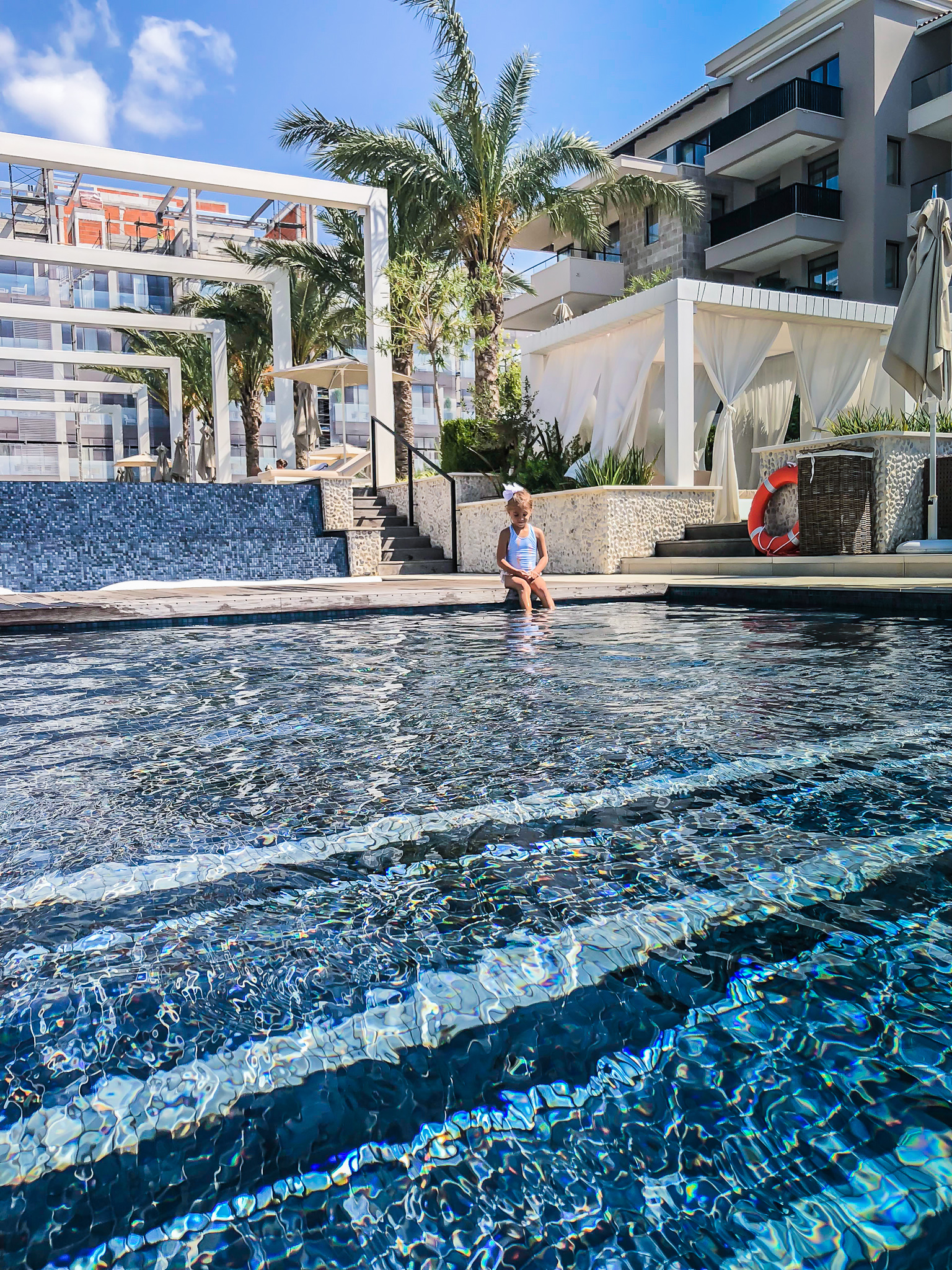 THE POOL AREA AT THE HOTEL REGENT PORTO MONTENEGRO