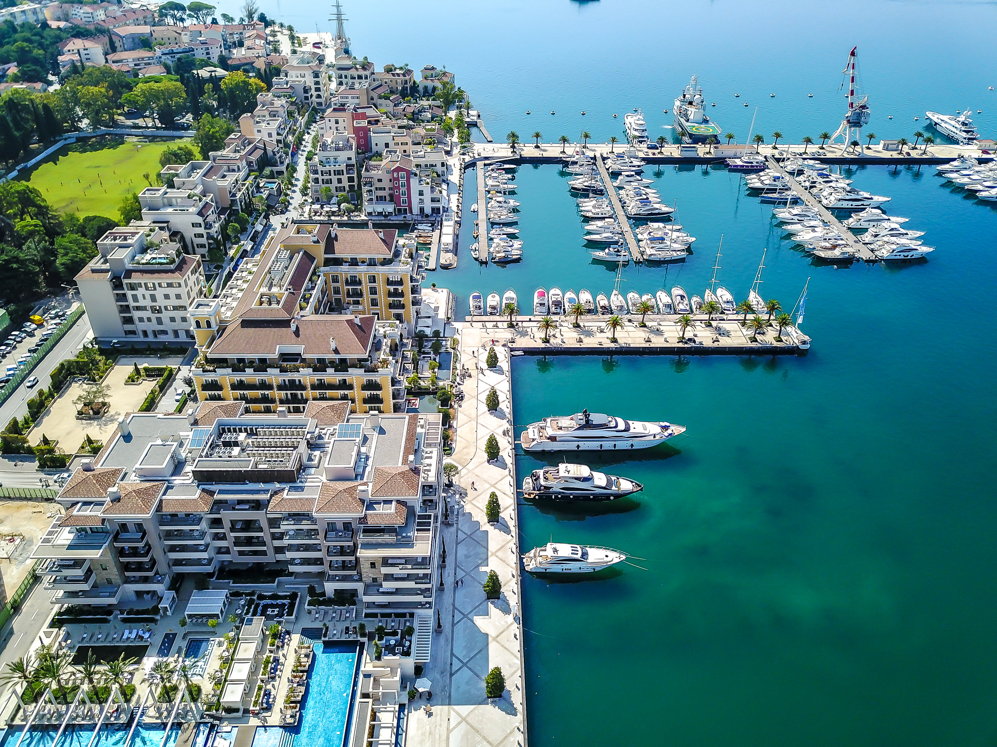 AERIAL OF THE HOTEL REGENT PORTO MONTENEGRO AND THE MARINA