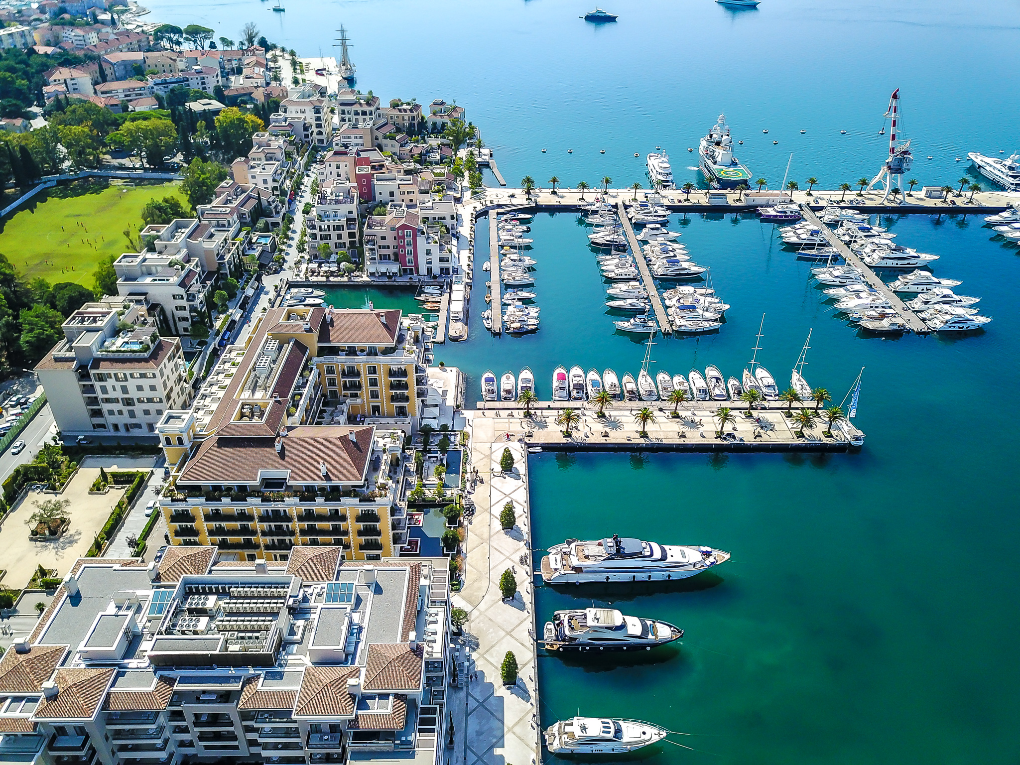 AERIAL VIEW OF PORTO MONTENEGRO AND THE HOTEL REGENT