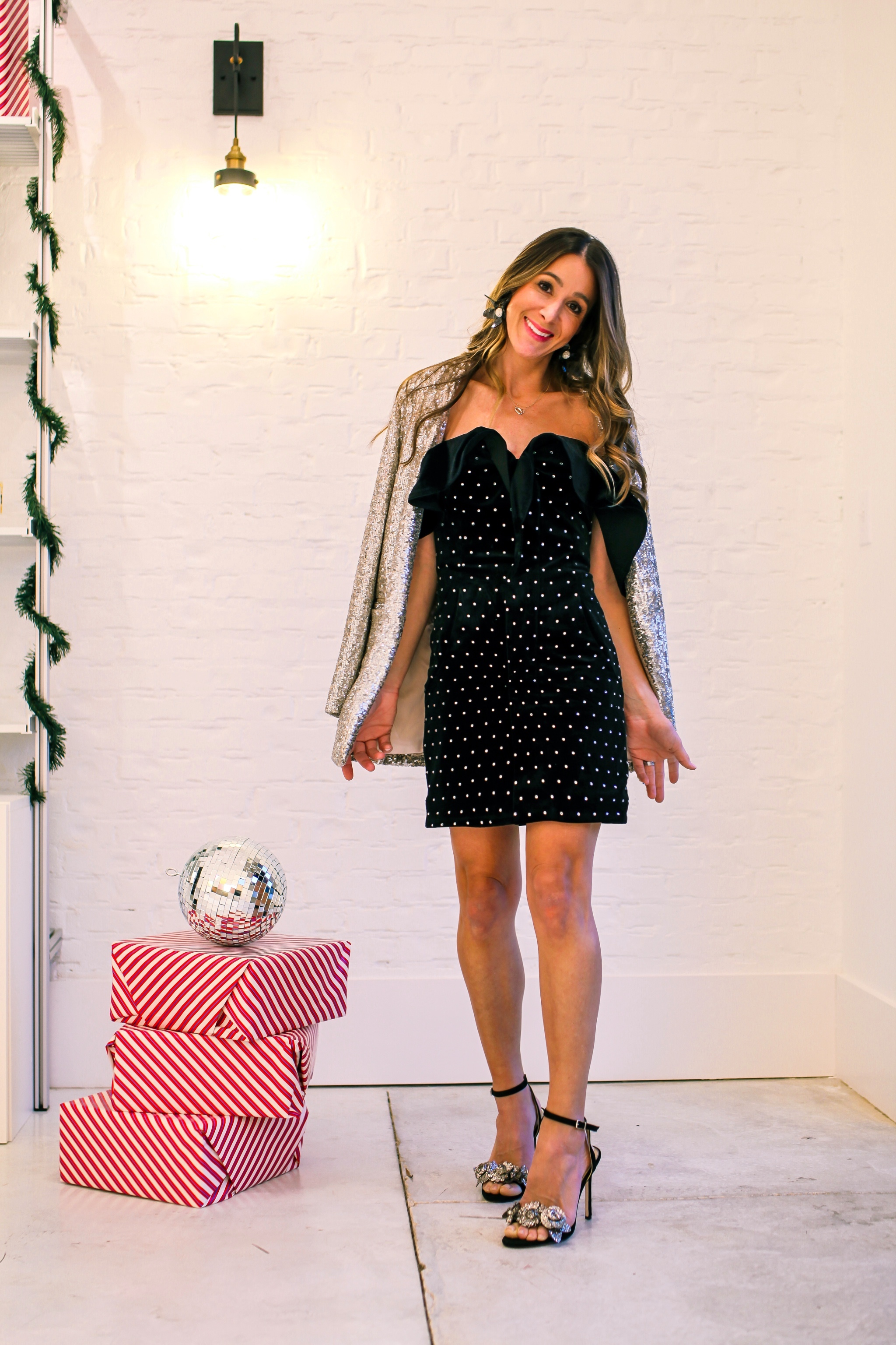 DRESS - SELF PORTRAIT -  HERE  | SHOES - JESSICA SIMPSON -  DILLARDS  | SEQUIN BLAZER -  DILLARDS  | EARRINGS - LELE SADOUGHI |
