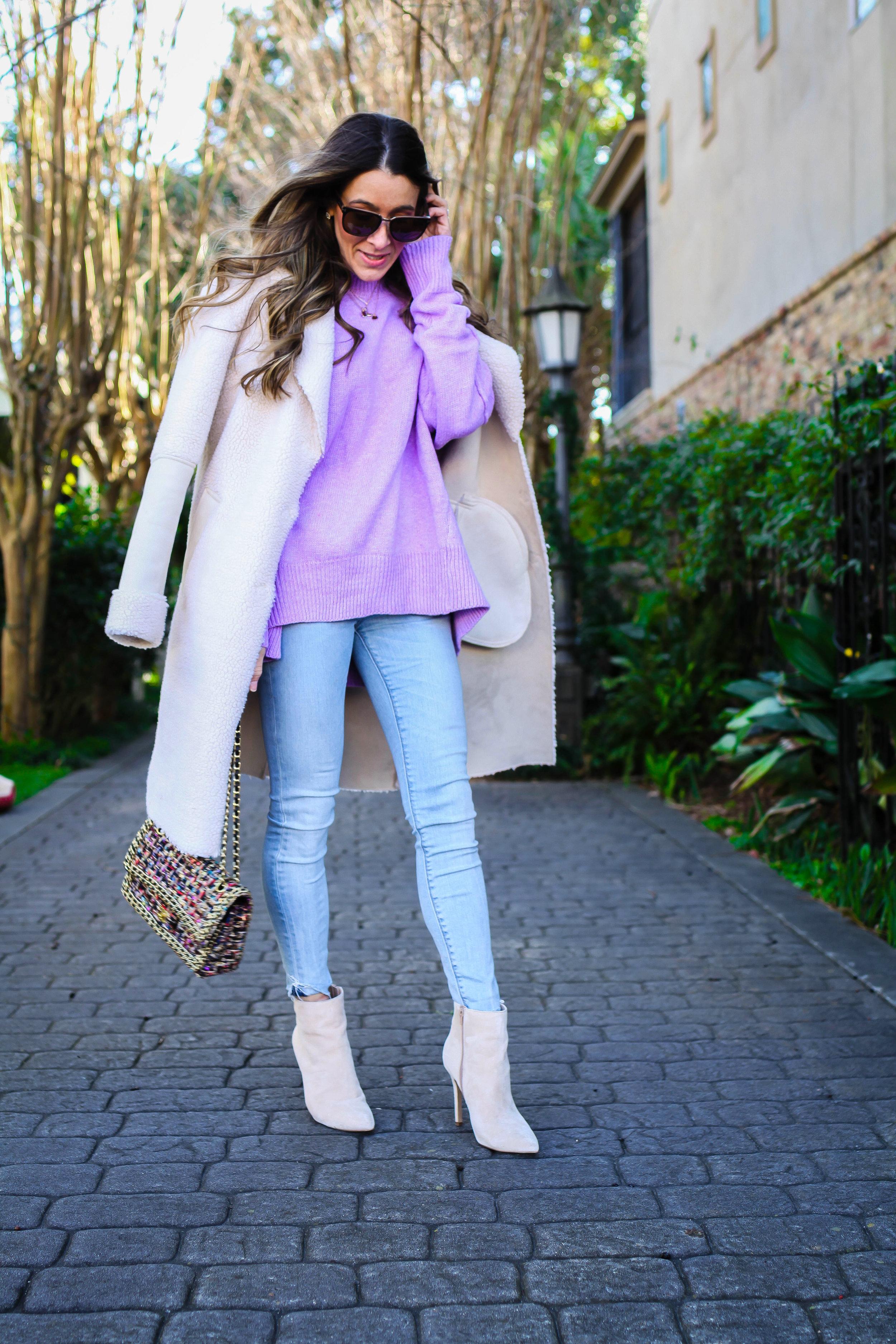 pastel purple sweater shearling coat