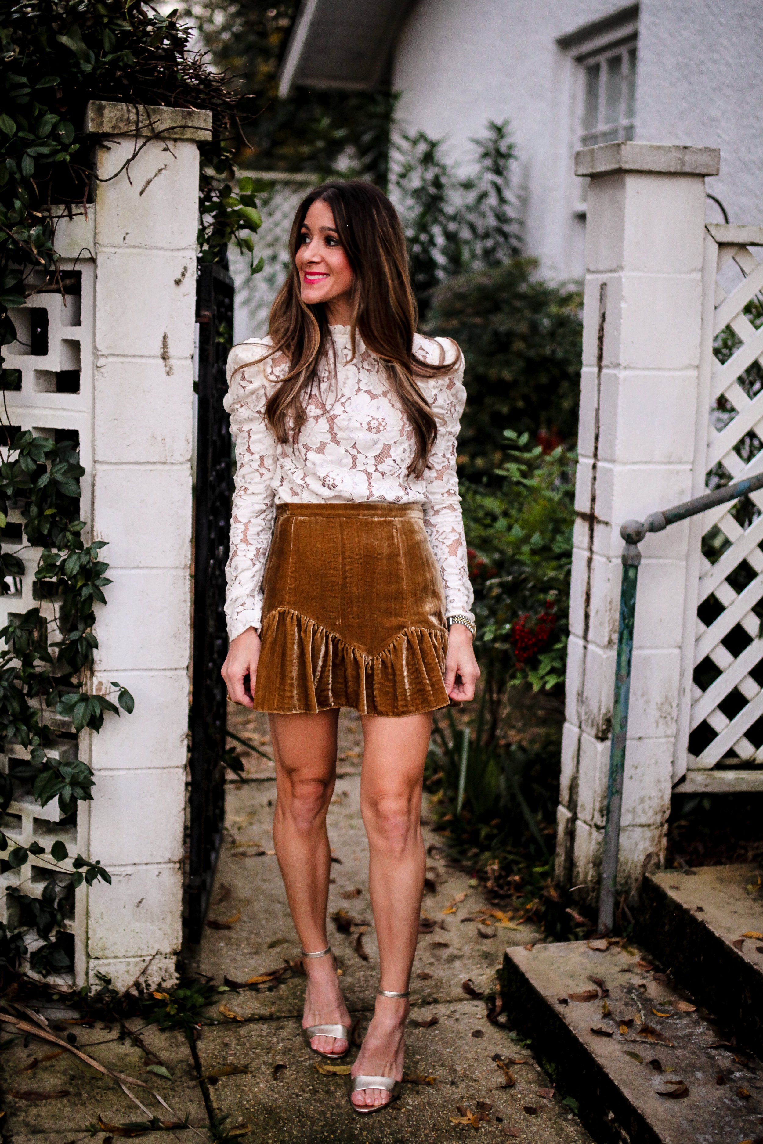 LACE TOP - WAYF -  HERE  | VELVET SKIRT - LOVE SHACK FANCY - ON SALE  HERE  AND HERE | GOLD STRAPPY HEELS - SAM EDELMAN -  HERE  AND HERE | EARRINGS - HERE - HERE | LIPSTICK - CHARLOTTE TILBURY -  HERE  | BLUSH - CHARLOTTE TILBURY -  HERE