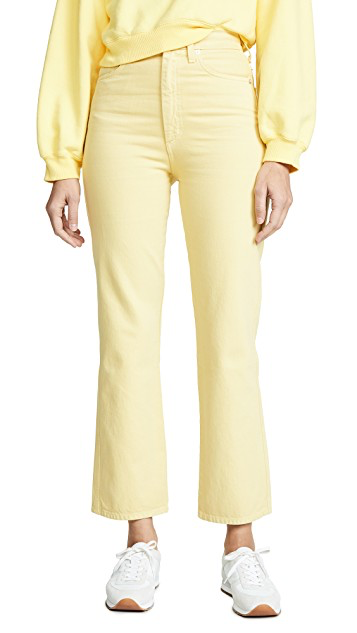 yellow cropped high rise jean
