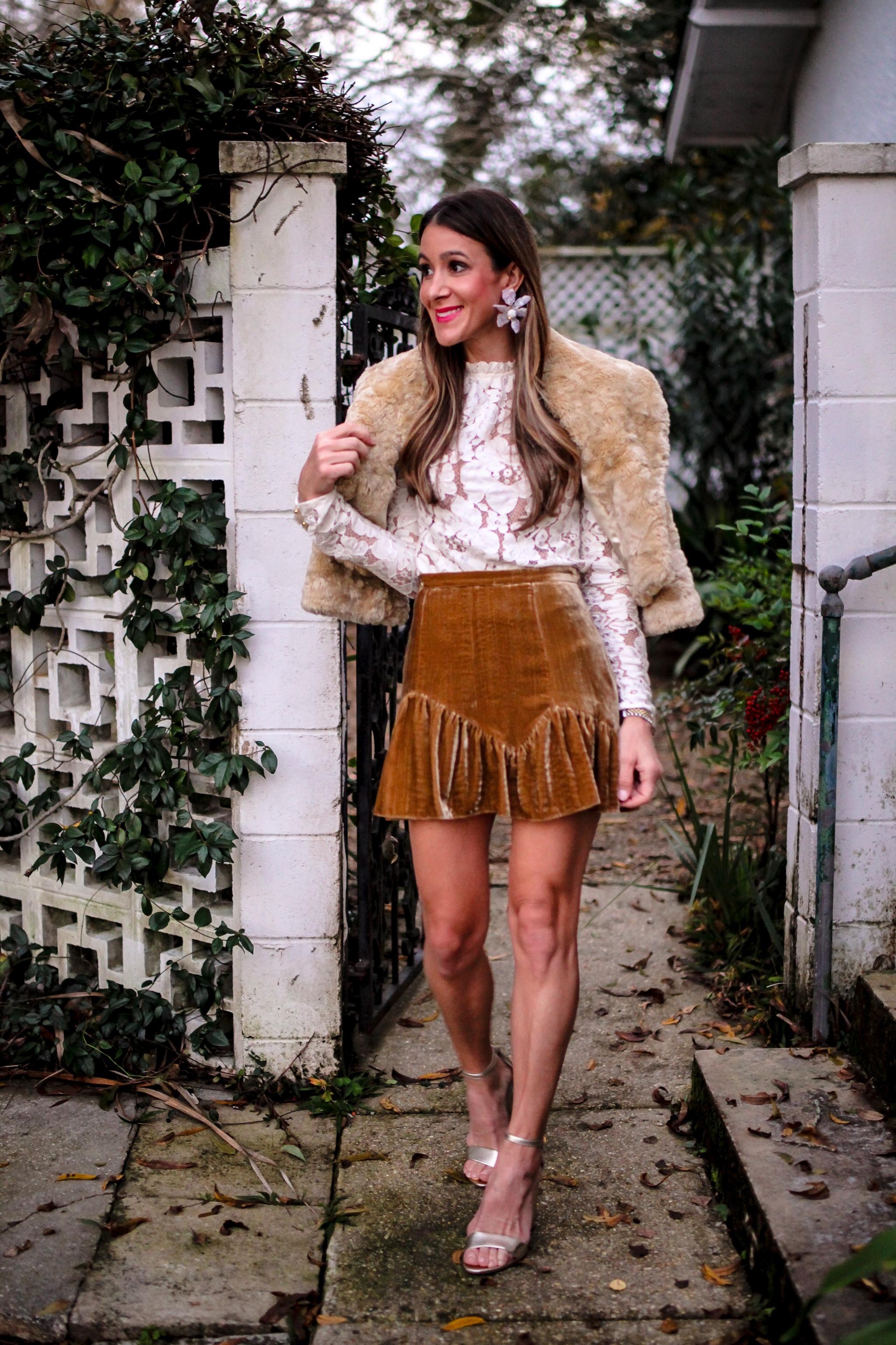 loveshackfancy velvet skirt wayf lace top
