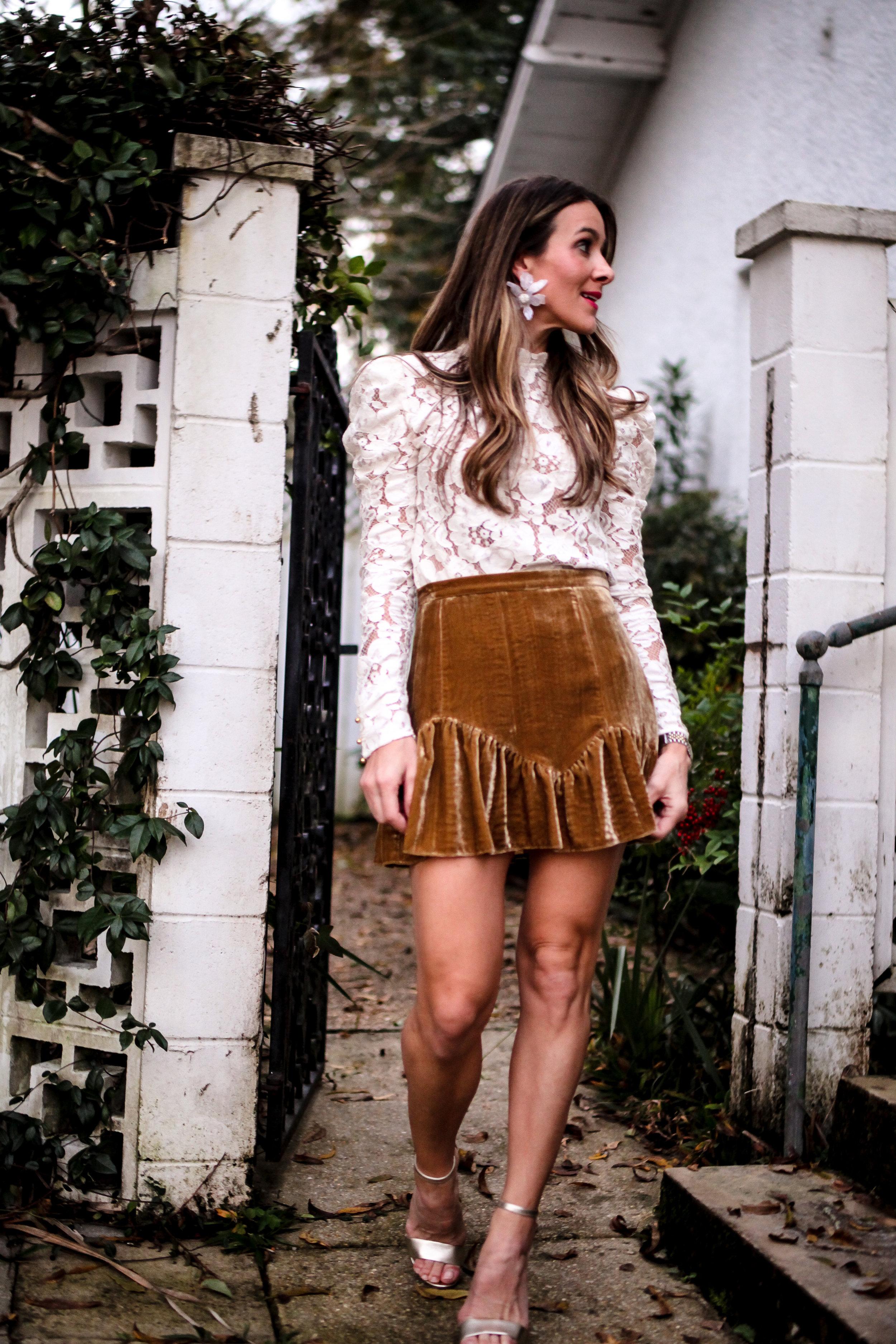 loveshackfancy skirt wayf lace top holiday look inspiration