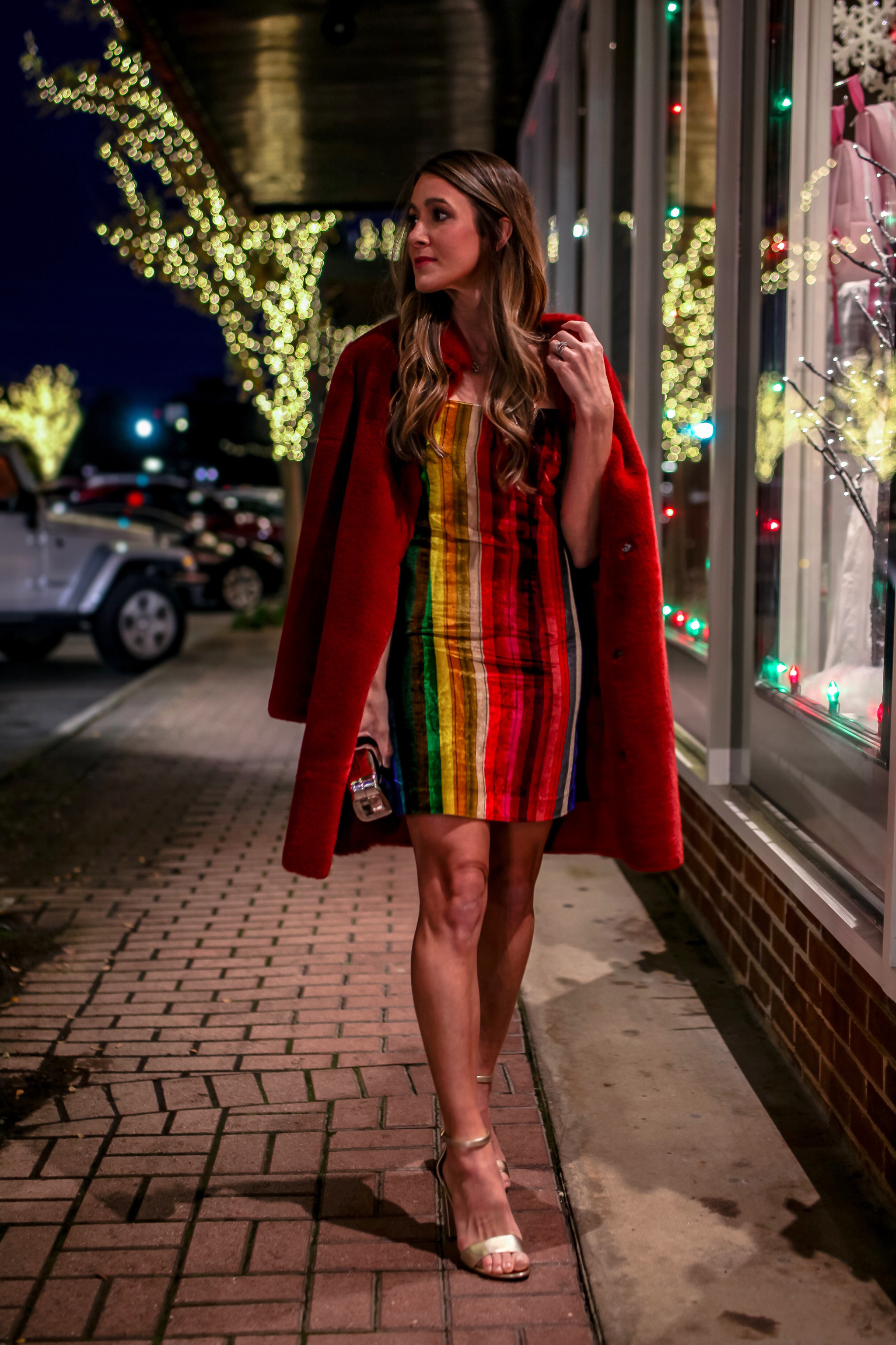 RAINBOW VELVET DRESS - MILLY - HERE AND HERE | RED FAUX FUR COAT - VELVET - HERE | SHOES - SAM EDELMAN HERE | LIP CLUTCH - HERE |