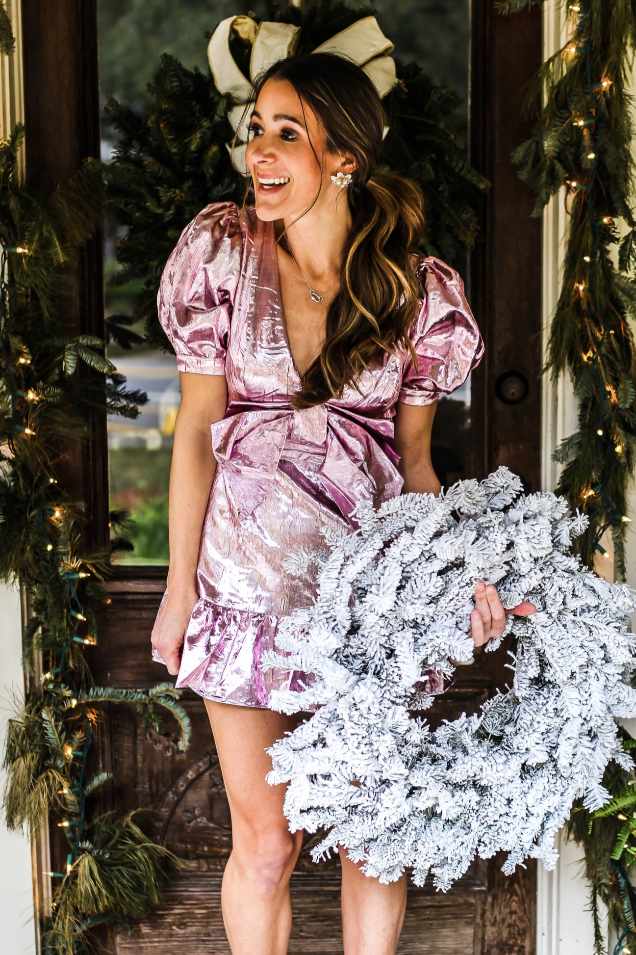 DRESS - LOVE SHACK FANCY -  HERE  AND HERE | SHOES -  SCHUTZ  | EARRINGS - SPROUTS DESIGNS -  HERE  |