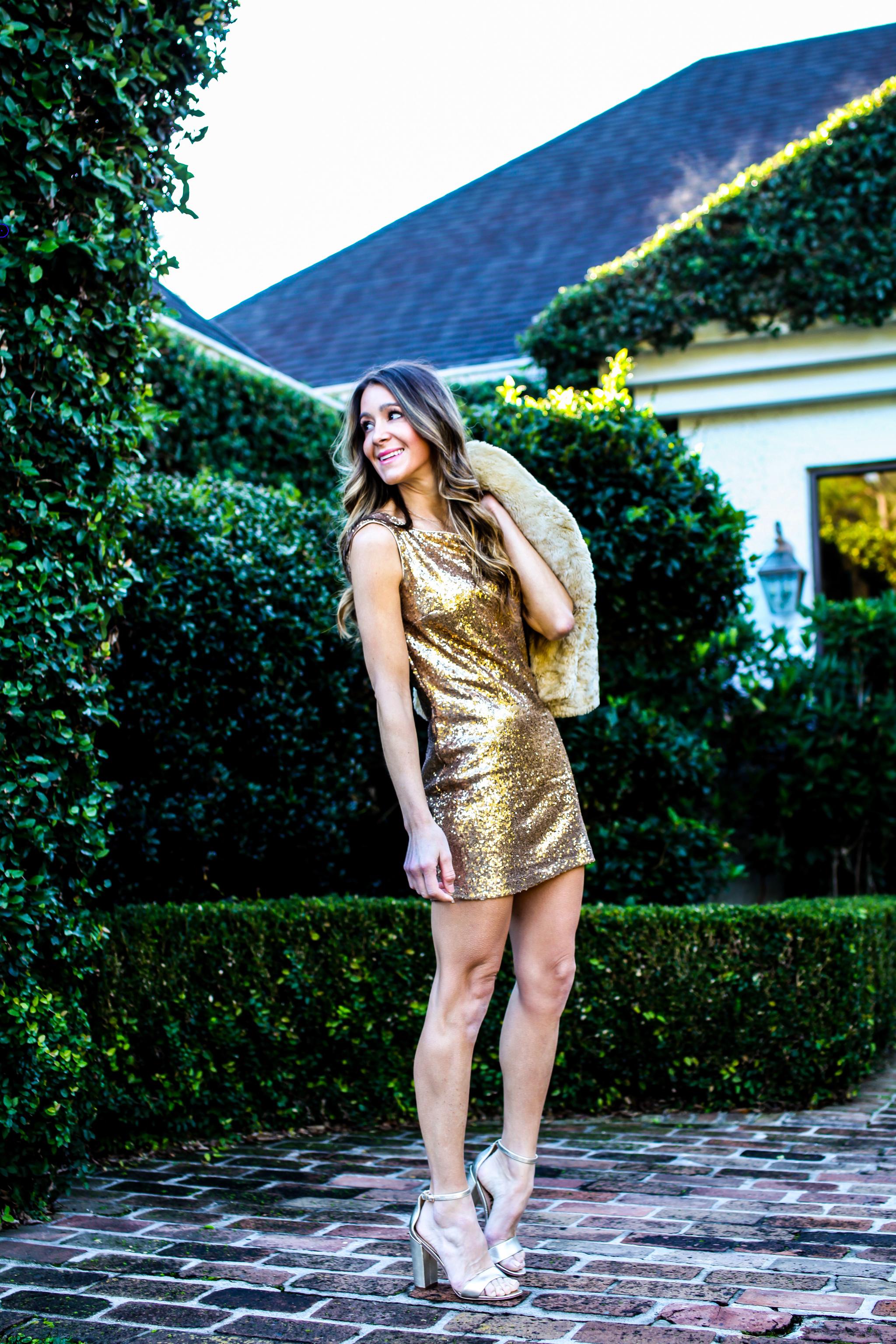 jay Godfrey gold sequin dress