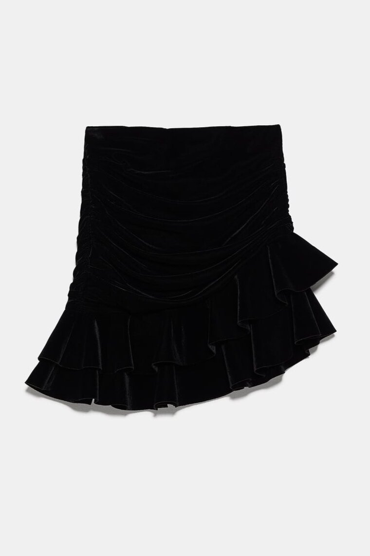 VELVET RUFFLE SKIRT ||SIMILAR HERE