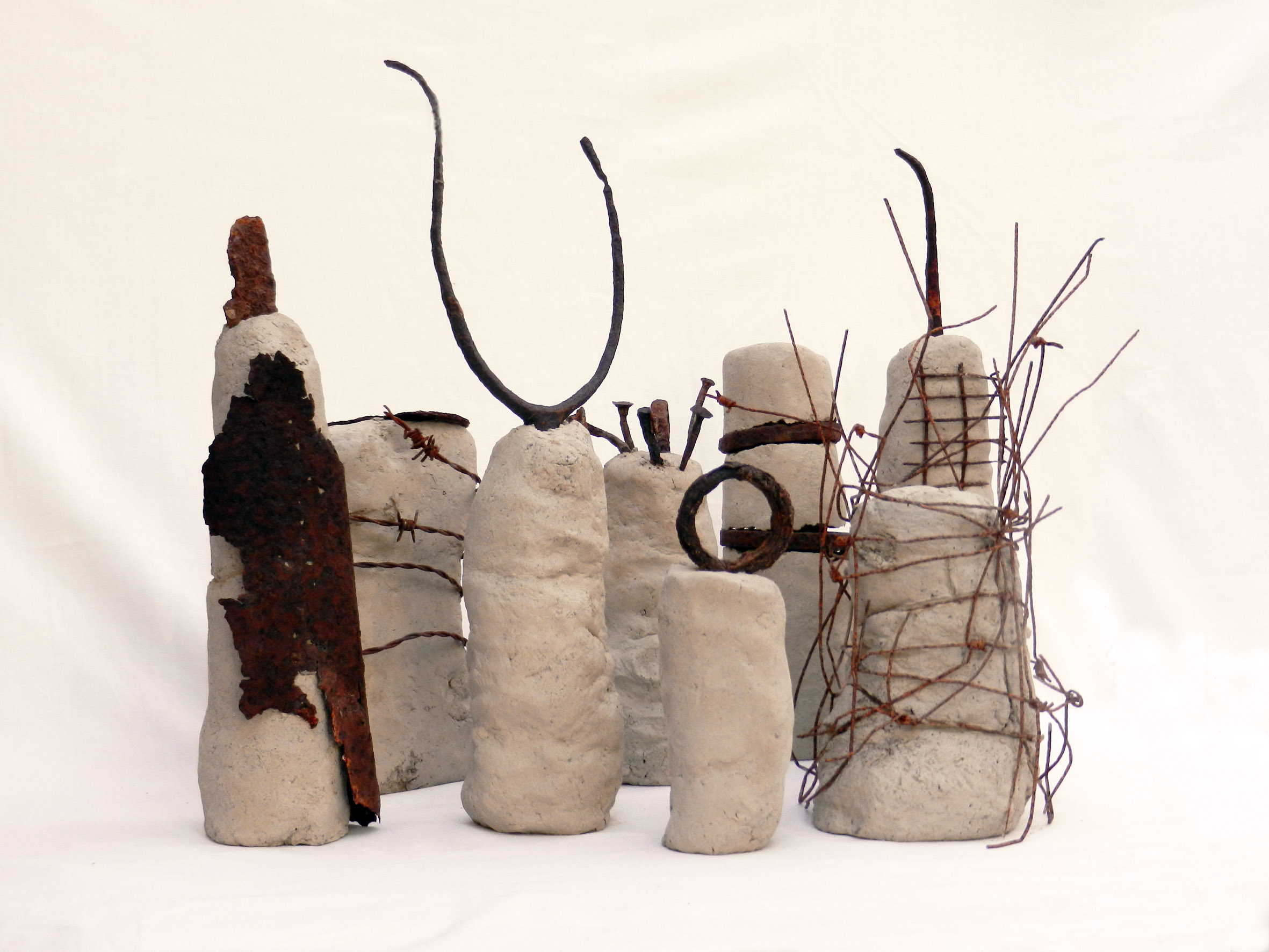 Family Clay and found metal, various sizes, max height 38cm, 2014