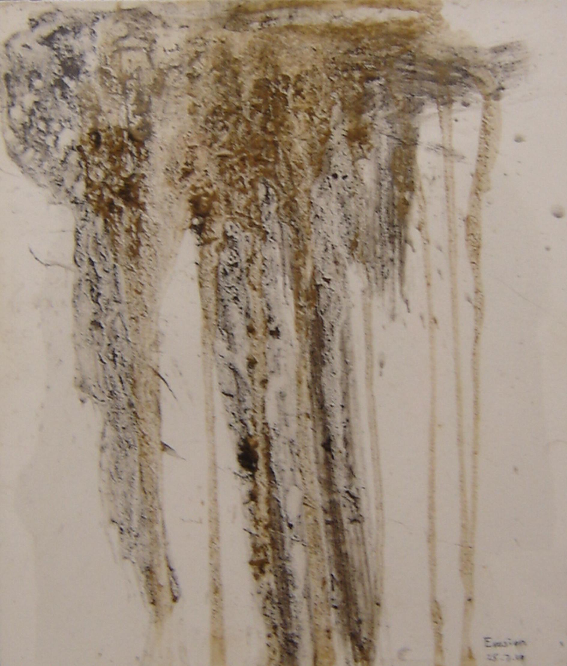 Erosion 1 Mud on gessoed paper 41 x 35 cm 2009