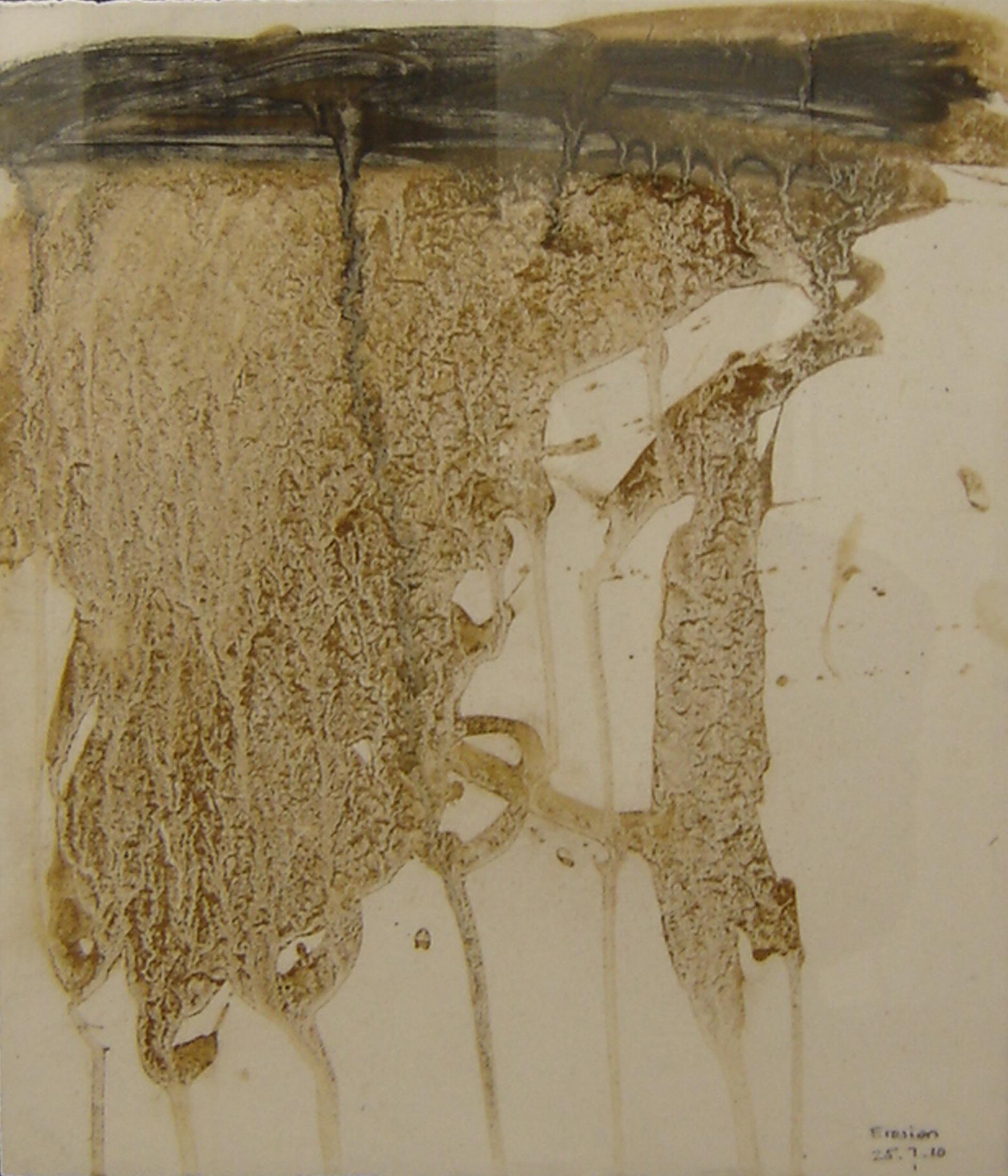Erosion 2 Mud on gessoed paper 41 x 35 cm 2009