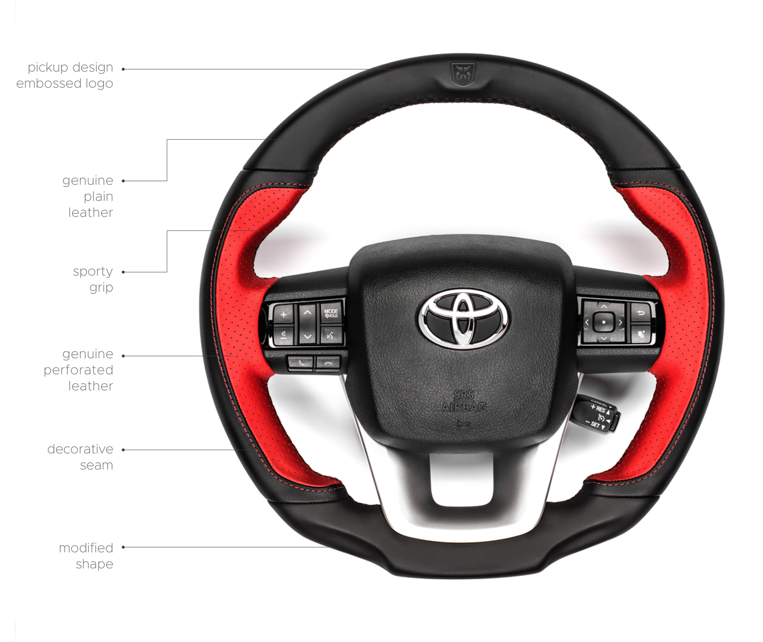 Steering wheel - The Hilly has a modified, sporty and comfortable steering wheel.Its new shape ensures maximum grip,and the leather applied makes thedriving experience a real pleasure