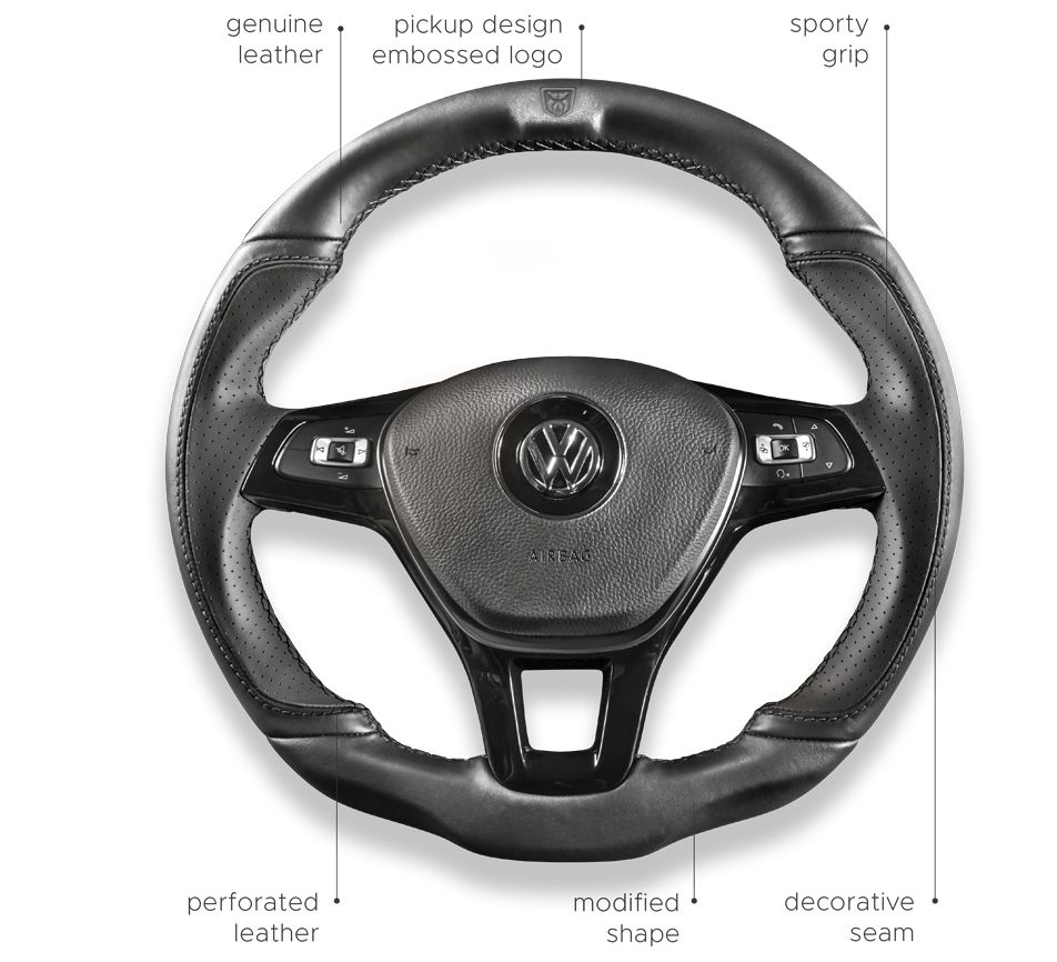 Steering wheel - The A.M.Y has a modified, sporty and comfortable steering wheel.Its new shape ensures maximum grip, and the leather applied makes the drivingexperience a real pleasure.