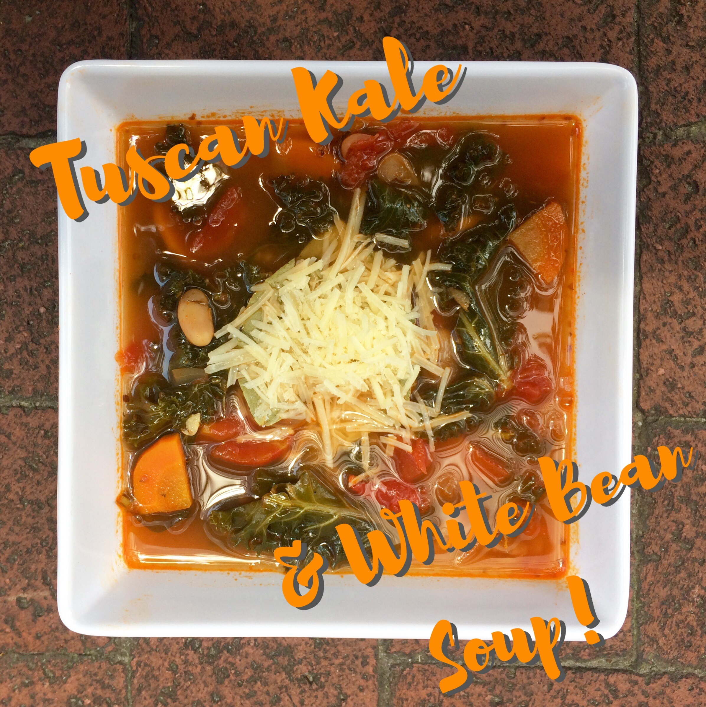 Vegan Tuscan Kale & White Bean Soup with Vegetarian Condiments: Shredded Parmesan Cheese