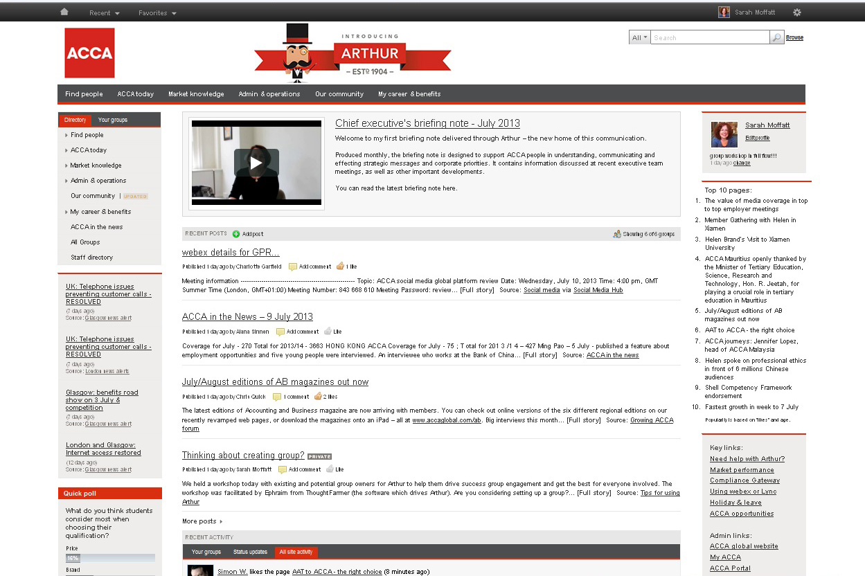 Arthur's homepage, shortly after launch