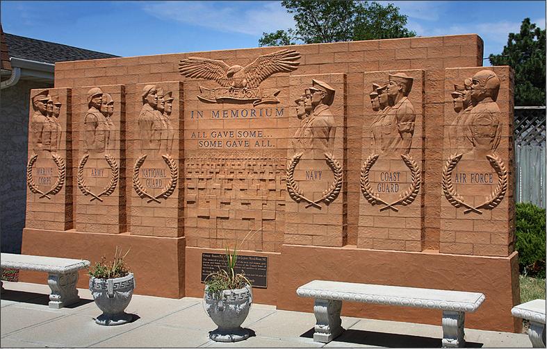 VETERANS MEMORIAL 7' x 20' freestanding brick mural Memorial Park Wood River, Nebraska - September 2006