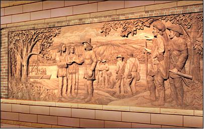 LEWIS AND CLARK 6' x 12' interior brick mural Dakota State Bank Souix City, Iowa - September 2000