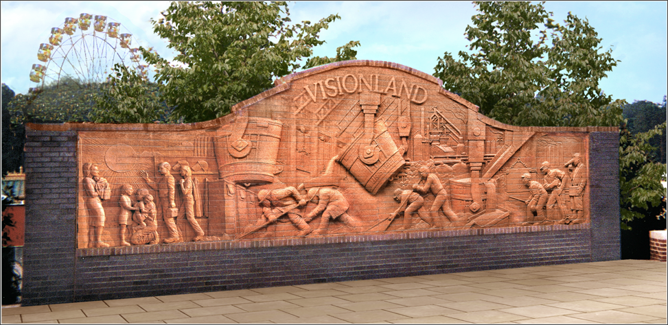 VISIONLAND ENTRY FEATURE 8′ x 24′ freestanding brick mural Visionland Theme Park Birmingham, Alabama – January 1998