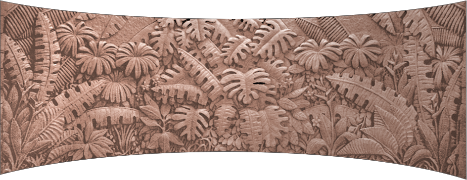 TROPICAL FOLIAGE 4′ x 11′ curved brick mural Robertson Quay Hotel courtyard Singapore