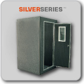 Dual-Layer Single Wall  Solid Wood Door  Acoustic Foam Interior  4' x 4' Size Only  1' x 2' Door Window