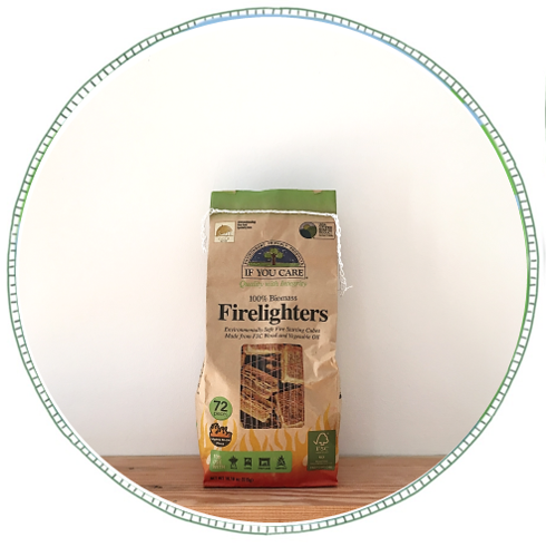 - £6.50From brand If You Care. 72 100% Biomass firelighters. Made from FSC-certified responsibly managed forest wood and non-GMO vegetable oil. 100% renewable source, no petroleum products, non-toxic. Perfect for fireplaces, grills, wood burning stoves, campfires.