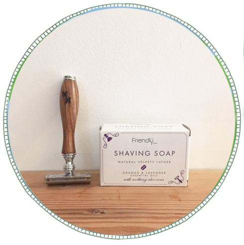 - £3From brand Friendly. Hand made in the UK. Vegan friendly, paraben, palm oil  and cruelty free, this bar is packed full of essential oils and goodies for your skin. Orange and Lavender essential oils give this shaving soap a bold character. Clay extracts help to create a silky smooth shave, and soothing aloe vera clams the skin.