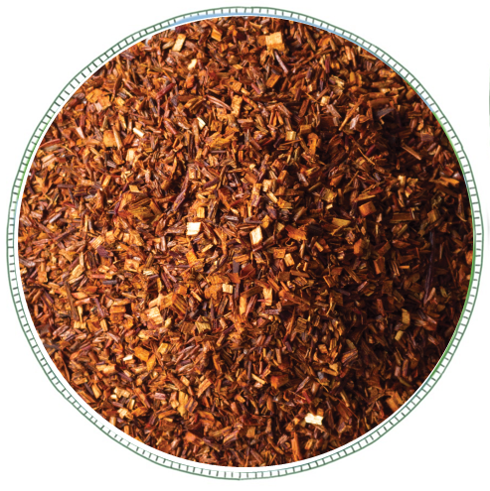 - From brand Westcountry Tea Co Rooibos, also known as Redbush is native to South Africa. Made from Rooibos Needles, this tea produces a rusty red infusion and has a malty honeysweet flavour. It is naturally caffeine free and low in tannins.