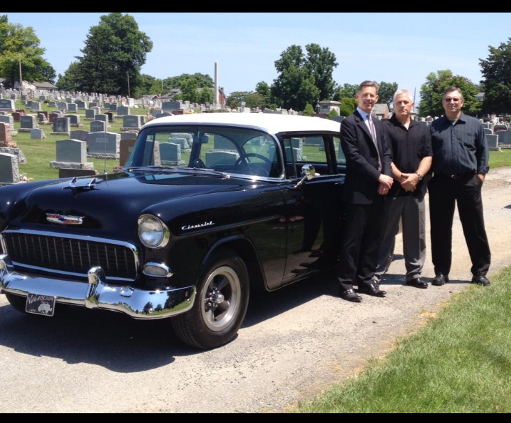 With my brothers Jeff & Glenn in front of my dad's '55 Chevy