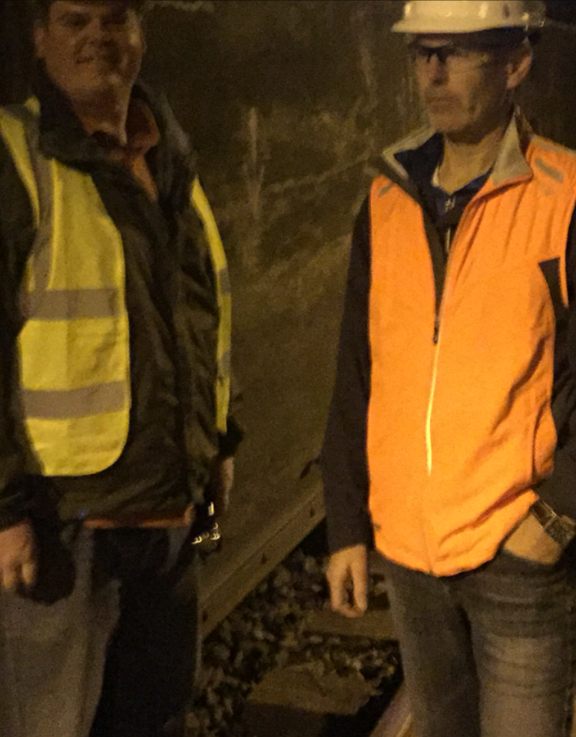 With Pat Finn at a site inspection inside an Amtrak tunnel, for one of my legal cases