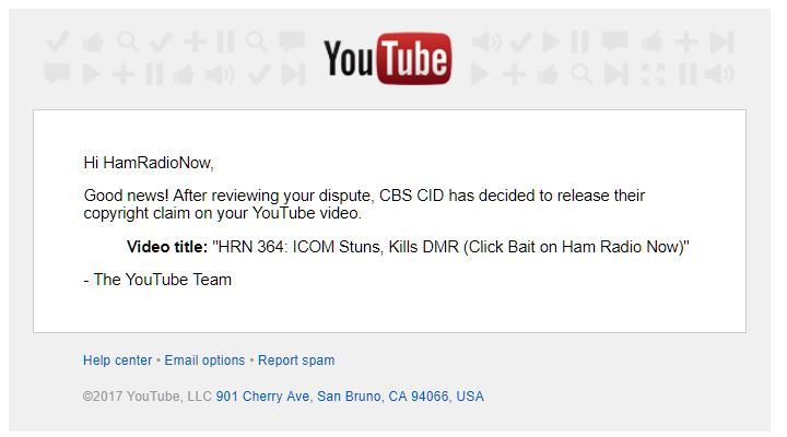 This is what it looks like when a copyright claim is released. This is from one of the Ham Radio shows I produced that used some footage from the CBS show  NCIS.