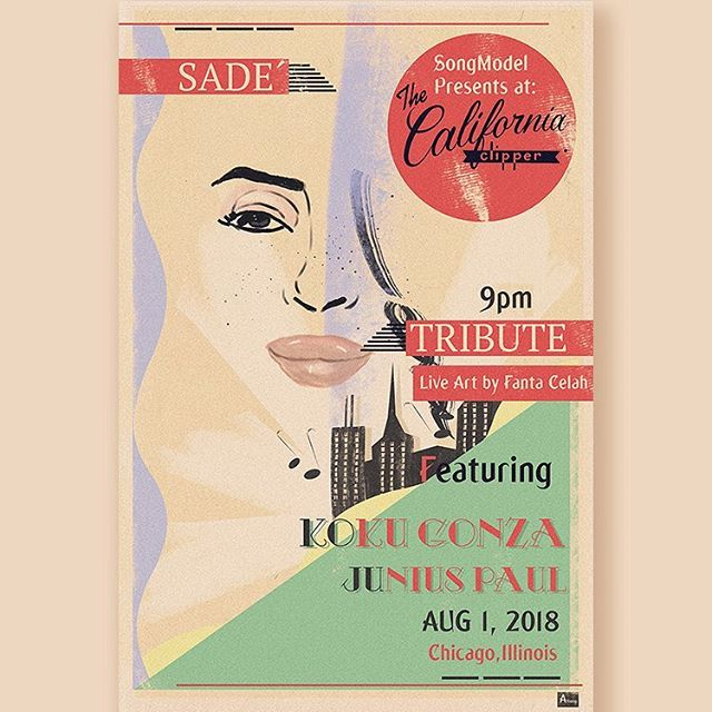 My #WCW is @sade💜💜💜. Next Wednesday Aug 1 @juniuspaulmusic & I will be doing playing our favorite #Sade songs at @californiaclipper!!!🎶🎶🎶. With live a live painting of lady Adu from @fantacelah!! Definitely a change of pace from my usual gigs! If you're in #Chicago come out at 9pm.  #livemusic #kinkykoku #soulmusic #afrojazz #🇹🇿 #indieartist #guitar #bass 📸 #flyer by @themedium7