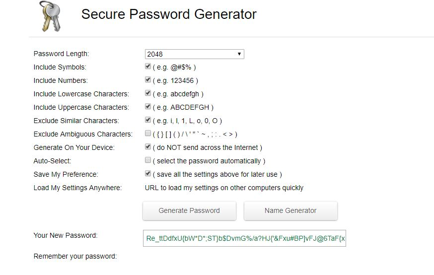 Edit the fields to your choosing, the bigger password the better. Copy password to clipboard