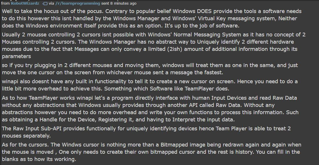 Why can't Windows 10 have several mouse pointers at once?