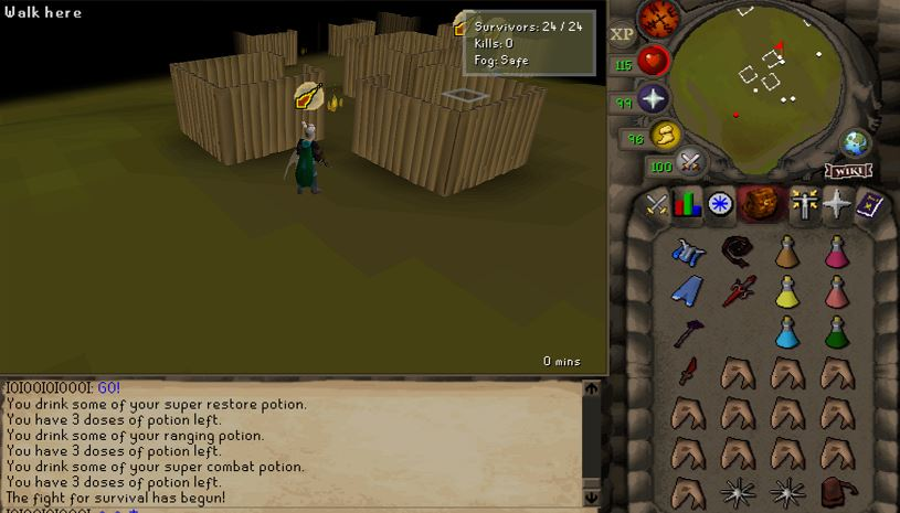 Immediately when the game starts, you need to do several things. First, organize your inventory to where it is easy for you to switch. You do not want your items to really move much. Second, brew up to 115 hitpoints, restore stats back up, drink range and melee potion. Third, disable spell-filtering by right clicking the magic book inventory tab. Fourth, make sure your crossbow is set to rapid fire (they may patch this in the future). After each kill, boost your hp and stats.