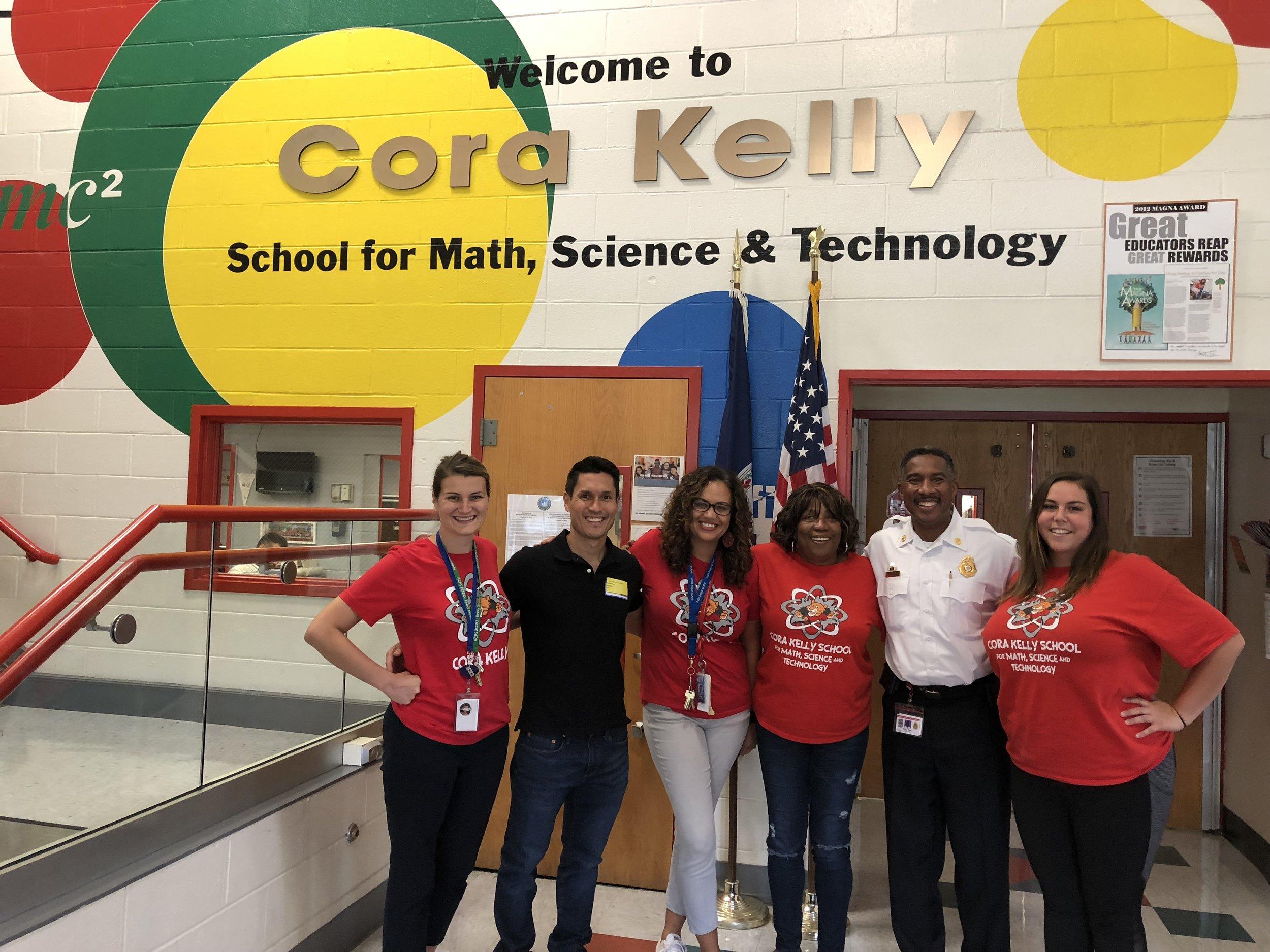 (Left to Right) Mrs. Holthaus (Assistant Principal), Ken Savittiere (K12AF & FCFRD), Mrs. Crews-West (Principal), Mrs. Hines, Chief Willie Bailey (FCFRD & K12AF), Ms. Sandoval (PE)